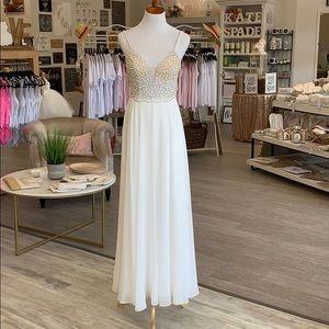 Long white jeweled dress